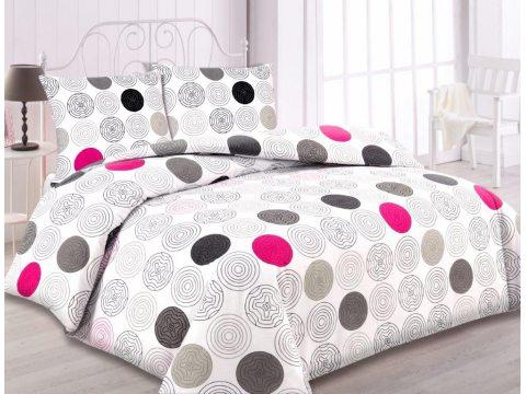 Pościel flanelowa  - 160 x 200  - biało, szaro, grafitowo, różowe fantazyjne kółka -  wz.31441/2