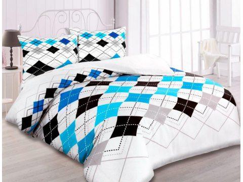 Pościel z flaneli  - 180 x 200  - biała, szara, niebieska kratka -  wz.31443/1