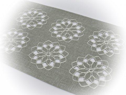 Serwetka haftowana 25 x 40 cm  - int 14604  - Kwiat Szary