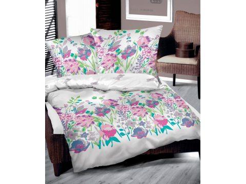 Pościel Bawełniana Flo Fuksja 160 x 200 Bielbaw kolorowe kwiaty
