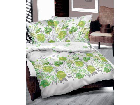 Pościel Bawełniana -  220 x 200 - zielone kwiaty - Flo Zielona  Bielbaw