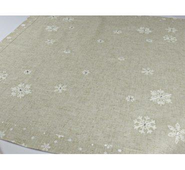 Bieżnik świąteczny - szary, srebrny, biała śnieżynka z naszytym koralikiem -  85 x 85 cm  int 15969