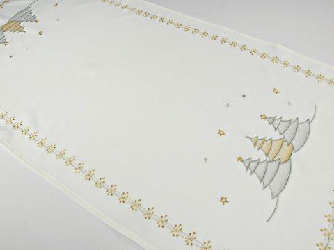 Bieżnik świateczny  biały, serbrna, złota choinka  -  40 x 85 cm int 16172