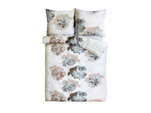 Pościel z satyny bawełnianej - Sweet Home - beżowe, niebieskie kwiatki - 160x200 cm - Bonus 22 - wz. 18609/1 - Andropol