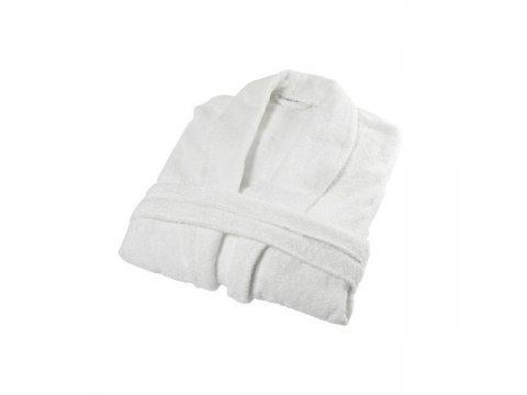 Płaszcz Kąpielowy, Szlafrok frotte z paskiem - Biały -  XL- Andropol