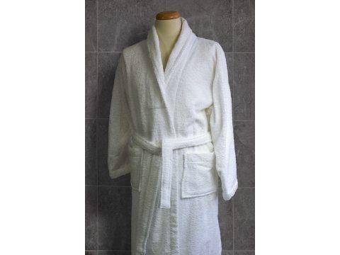 Płaszcz Kąpielowy, Szlafrok frotte z paskiem - Biały -  L - Andropol
