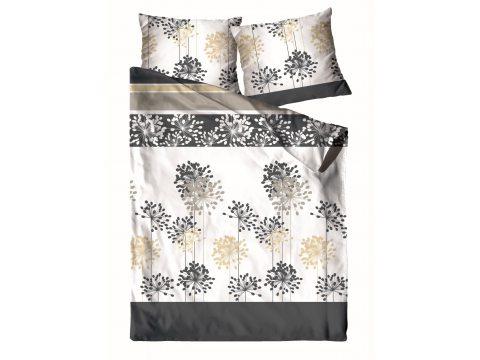 Pościel z satyny bawełnianej - biały, grafitowy - kwiat allilium -160 x 200  - Znakomita Grafitowa -  Greno Gold Line