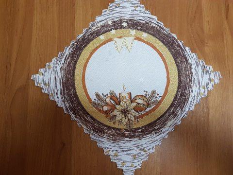 Serwetka świąteczna  biały, brązowy, złoty  stroik -  30 x 30 cm