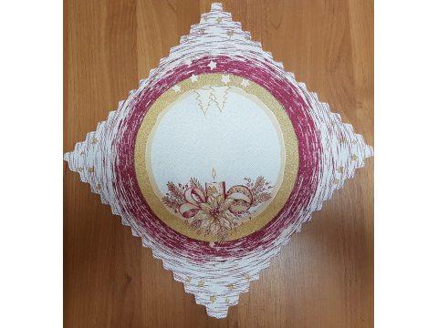 Serwetka świąteczna  biały, bordowy, złoty  stroik -  30 x 30 cm