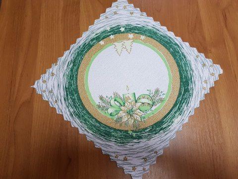 Serwetka świąteczna  biały, ciemna zieleń, złoty  stroik -  30 x 30 cm