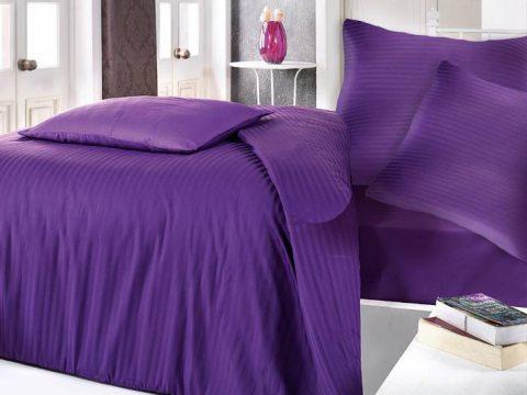 Satyna bawełniana  -  fioletowe paski - 160 x 200  Cizgili  Violet