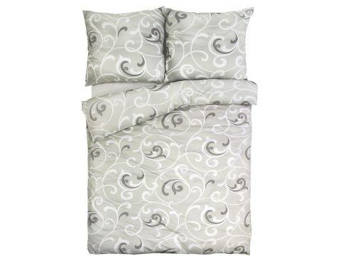 Pościel z satyny bawełnianej - Sweet Home - biało -  szare -  esy floresy  - 160x200 cm - Bonus 35 - wz. 17758/11 - Andropol
