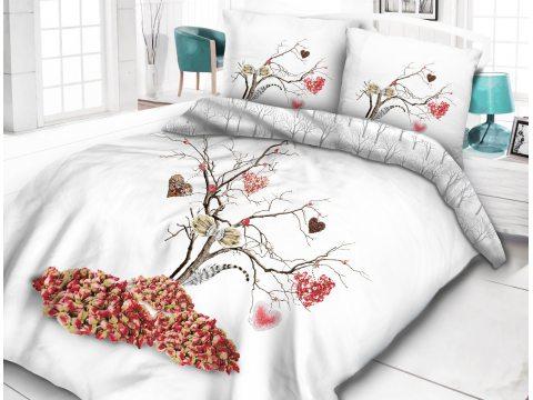 Pościel z bawełny - Vintage - biało, czerwone, popielate -  Drzewko szczęścia - 160x200 -  wz. 61406/1