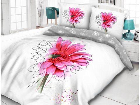 Pościel bawełniana - Vintage - biało, różowo, popielata  -  Dalia  - 220 x 200  - wz. 61405/1