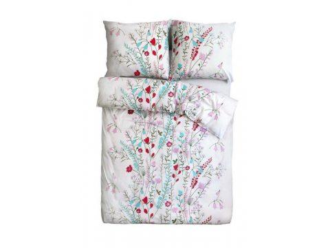 Pościel z satyny - Sweet Home -  różowo niebieskie kwiatuszki  - 160x200 cm - Bonus 20- wz. 18608/1 - Andropol