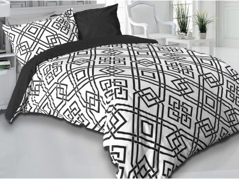 Komplet pościeli  satynowej  Carmen  - biało,  czarny  geometryczny wzór  - 220x200 wz.1441/1