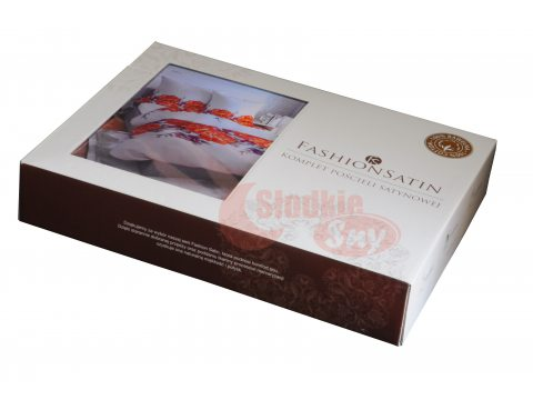 Pościel z satyny bawełnianej -  Fashion Satin -  biały, zieleń morska,  popielaty -  kwiat maku -  160 x 200 w pudełku  wz. 2561 B