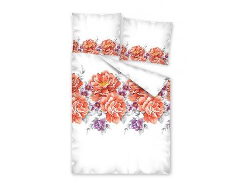 Pościel satynowa -  Fashion Satin -  biały, pomarańczowo czerwony  - Kwiat -  220 x 200 w pudełku  wz. 2560 A