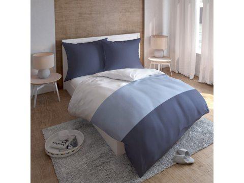 Kpl. pościeli  satynowej - białe, jasno niebieskie, granatowe - duże pasy - 160x200 cm  Carlo Macci wz. 2357 D