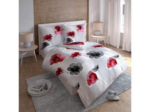 Pościel satynowa - biały, popielaty, czerwony -  kwiat maku - 220 x 200 cm  Carlo Macci wz. 2581 A