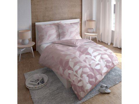 Kpl. pościeli  satynowej - biały, morelowy - liść jesionu - 220 x 200 cm  Carlo Macci wz. 2580 A