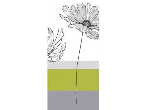Kpl. Pościeli satynowej - biały, popielaty, zielony Kwiat - 220x200 - Zjawiskowa - Bielbaw