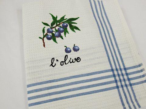 Ściereczka  kuchenna -  oliwki niebieskie  - 50 x 70 --1 szt