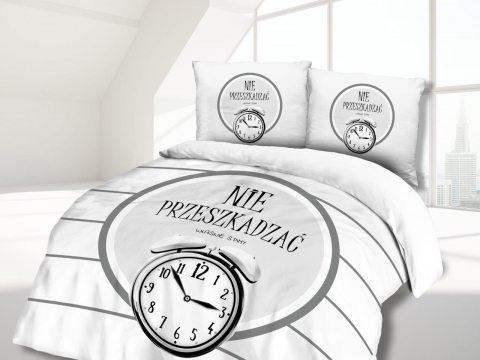 Pościel z bawełny - Vintage - biało, czarna - Nie przeszkadzać właśnie śpimy-  - 160x200 -  wz. 61441/1