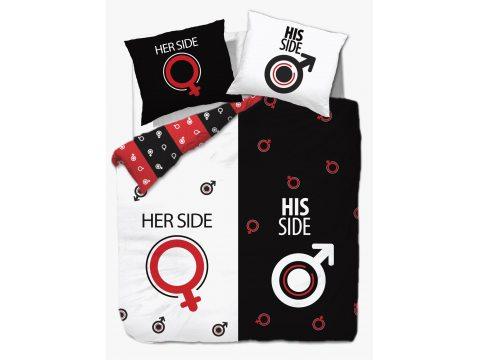 Pościel bawełniana - Vintage - biało, czerwono, czarna - Dla Niej i Dla Niego - 160x200 -  wz. 61418/1
