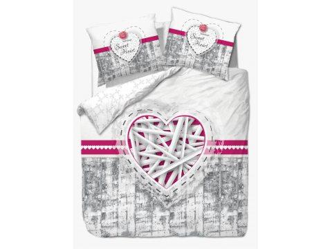 Pościel bawełniana - Vintage - biało, szaro różowa - Słodkie Serce - 160x200 -  wz. 61421/1
