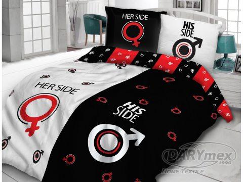 Pościel bawełniana - Vintage - biało, czerwono, czarna - Dla Niej i Dla Niego - 220x200 -  wz. 61418/1