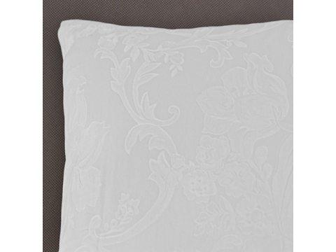 Poszewka  satynowa 40x40 wz. 17489/4  - biała w esy floresy  - Andropol  ----1 szt