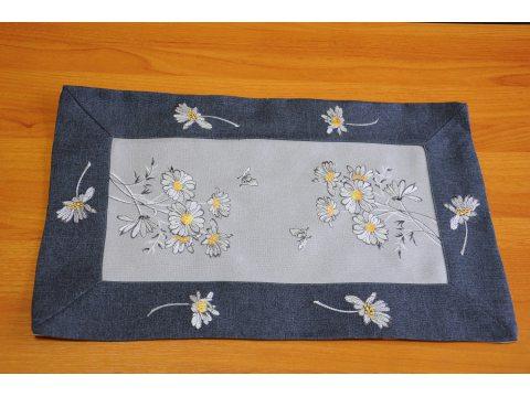 Haftowana serwetka  - szaro - grafitowy - kwiat - 30 x 45- int 9360 cm