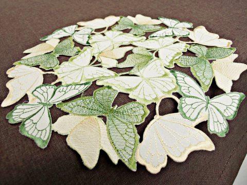 Serwetka haftowana -  zielono -  żółte -  motylki  -   śr. 30 cm int 15702