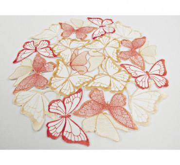 Serwetka haftowana -  pomarańczowo -  żółte -  motylki  -   śr. 30 cm int 15702