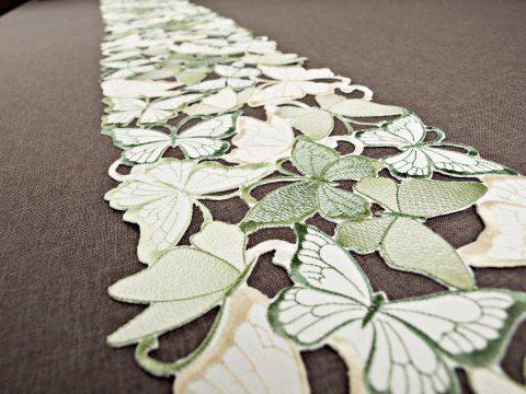 Szal haftowany -  zielone - żółty - motylki -  20 x 160 cm int 15702