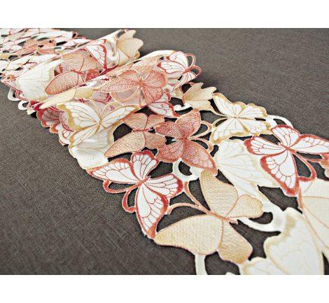 Szal haftowany -  pomarańczowe- żółte - motylki -  20 x 160 cm int 15702