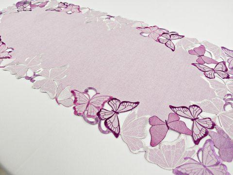 Bieżnik haftowany -  fioletowe motylki -  40 x 85 cm int 15702