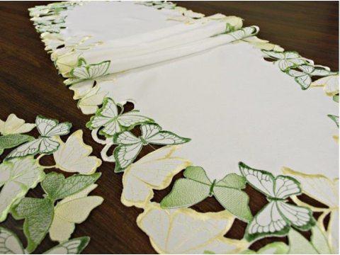 Bieżnik haftowany -  zielone - żółty - motylki -  40 x 85 cm int 15702