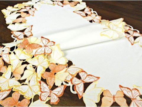 Bieżnik haftowany -  pomarańczowe- żółte - motylki -  40 x 85 cm int 15702