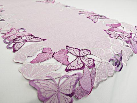 Bieżnik haftowany -  fioletowe motylki -  40 x 140 cm int 15702