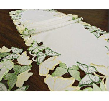 Bieżnik haftowany -  zielone - żółty - motylki -  40 x 140 cm int 15702