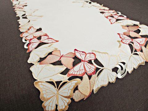 Bieżnik haftowany -  pomarańczowe- żółte - motylki -  40 x 140 cm int 15702