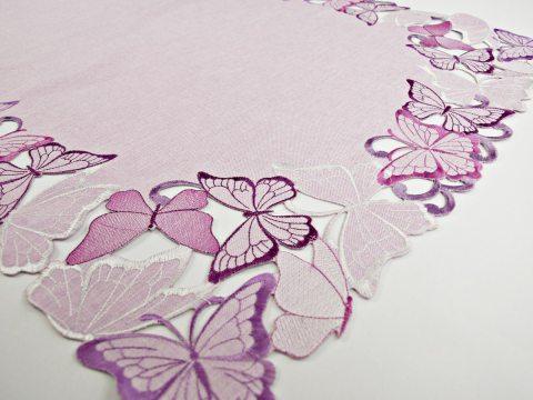 Bieżnik haftowany -  fioletowe motylki -  50 x 100 cm   15702