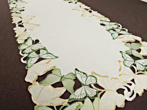 Bieżnik haftowany -  zielone - żółty - motylki -  50 x 100 cm   15702