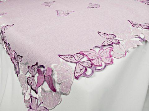 Bieżnik haftowany -  fioletowe motylki -  85 x 85 cm   15702     kwadrat