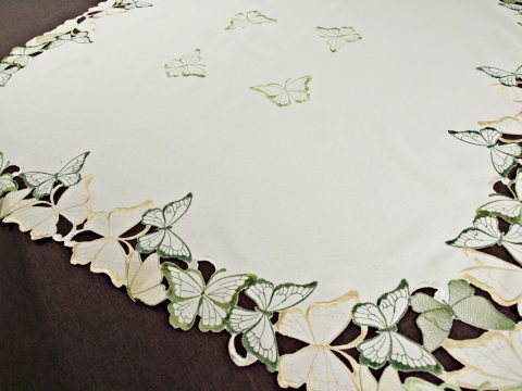 Bieżnik haftowany -  zielone - żółty - motylki -  85 x 85 cm   15702    kwadrat