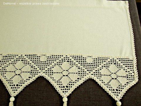 Zazdrostka - z koronką z frędzlami -  Village - Beż -  50 x 150 - firana  243