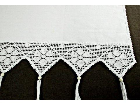 Zazdrostka - z koronką z frędzlami -  Village - Biały  -  50 x 150 - firana  243