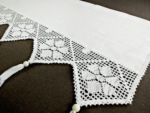 Zazdrostka - z koronką z frędzlami -  Village - Biały  -  50 x 200 - firana  243